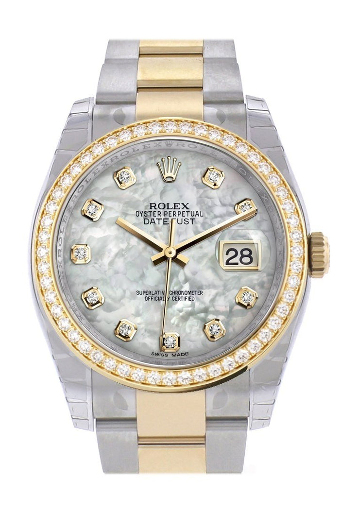 Custom Diamond Bezel Rolex Datejust 36 White mother-of-pearl set with diamond sDial Oyster Yellow Gold Two Tone Watch 116203