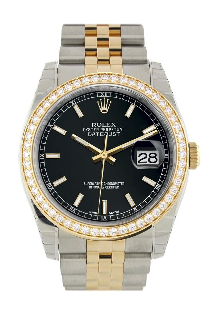 Custom Diamond Bezel Rolex Datejust 36 Black Dial Jubilee Yellow Gold Two Tone Watch 116203