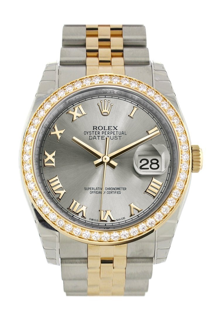 Custom Diamond Bezel Rolex Datejust 36 Steel Roman Dial Jubilee Yellow Gold Two Tone Watch 116203