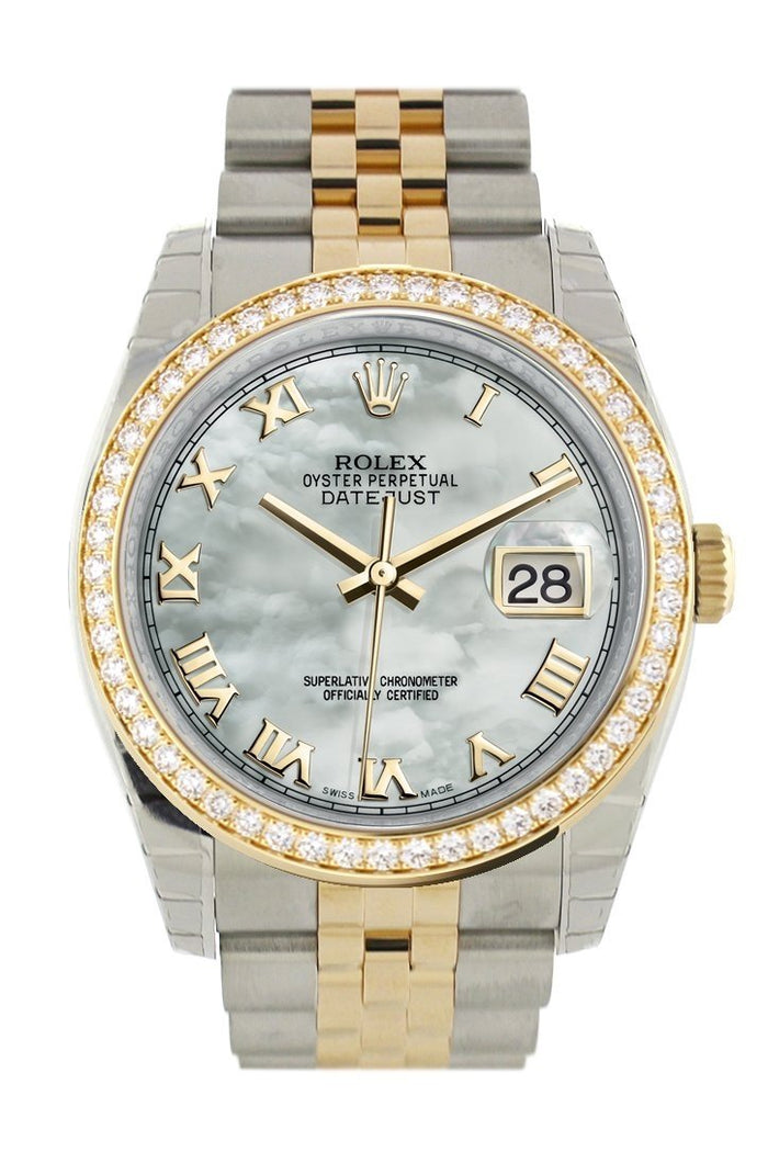 Custom Diamond Bezel Rolex Datejust 36 White mother-of-pearl Roman Dial Jubilee Yellow Gold Two Tone Watch 116203 116233