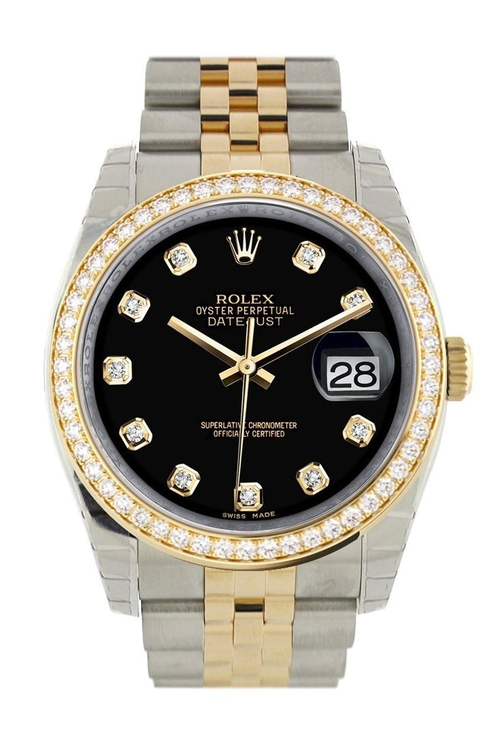 Custom Diamond Bezel Rolex Datejust 36 Black set with diamonds Dial Jubilee Yellow Gold Two Tone Watch 116203 116233