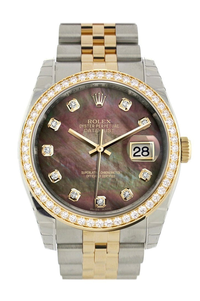 Custom Diamond Bezel Rolex Datejust 36 Black mother-of-pearl set with diamonds Dial JubileeYellow Gold Two Tone Watch 116203