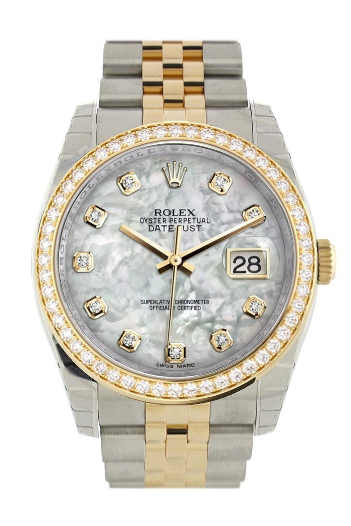 Custom Diamond Bezel Rolex Datejust 36 White mother-of-pearl set with diamonds Dial Jubilee Yellow Gold Two Tone Watch 116203 116233