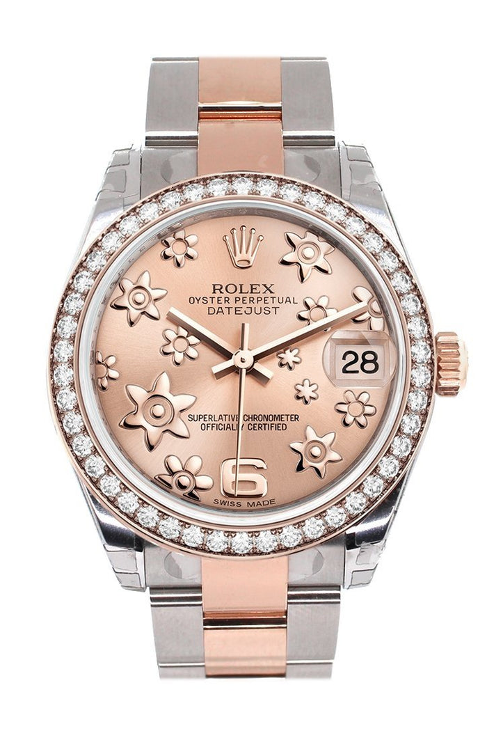 Custom Diamond Bezel Rolex Datejust 31 Pink Raised Floral Dial 18K Rose Gold Two Tone Ladies Watch 178241