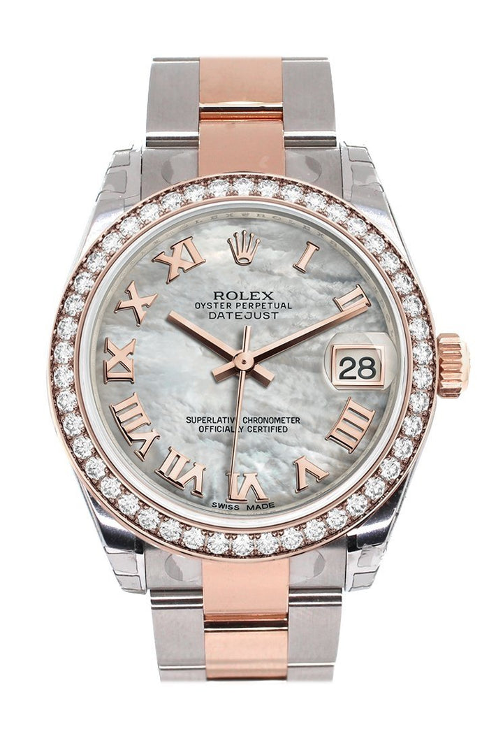 Custom Diamond Bezel Rolex Datejust 31 White Mother of Pearl Roman Dial 18K Rose Gold Two Tone Ladies Watch 178241