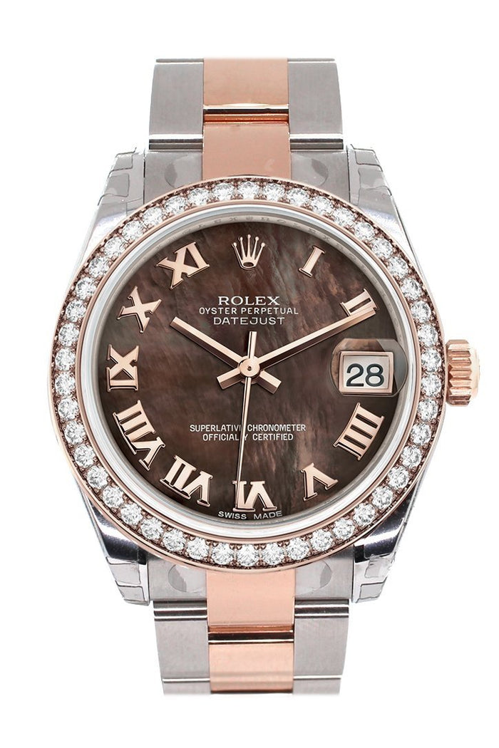 Custom Diamond Bezel Rolex Datejust 31 Black Mother of Pearl Roman Dial 18K Rose Gold Two Tone Ladies Watch 178241
