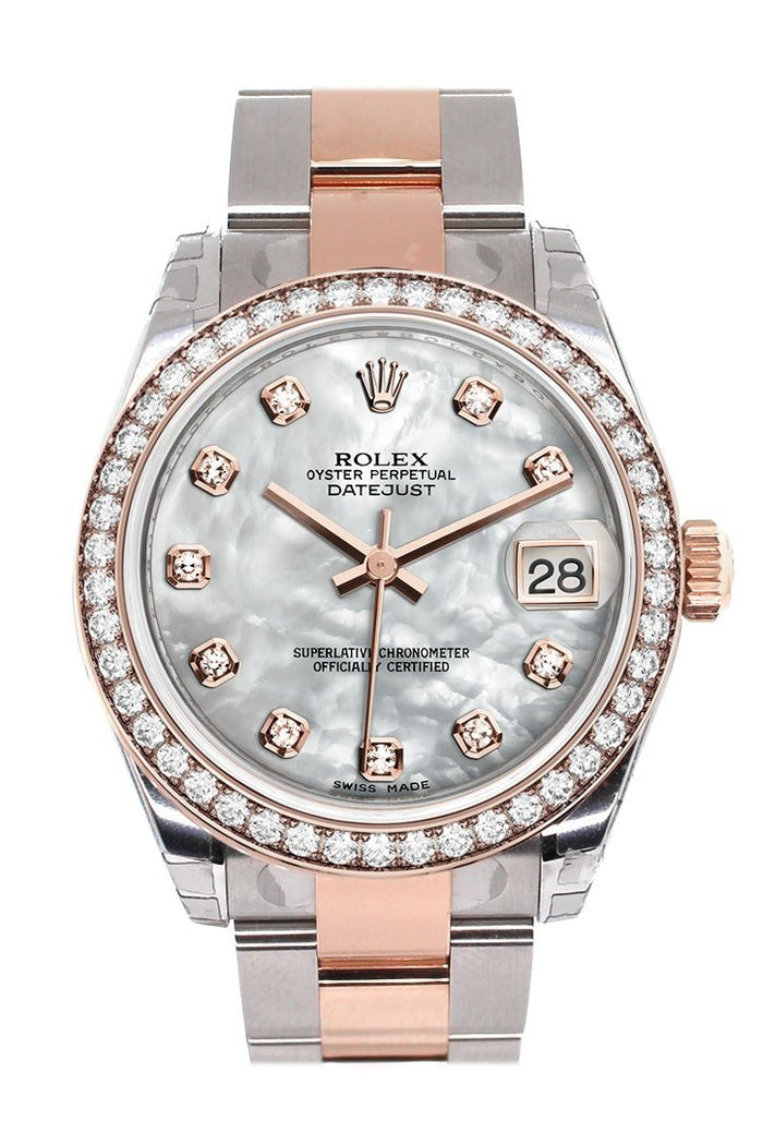 Custom Diamond Bezel Rolex Datejust 31 White Mother of Pearl Diamond Dial 18K Rose Gold Two Tone Ladies Watch 178241