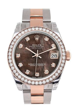Custom Diamond Bezel Rolex Datejust 31 Black Mother Of Pearl Dial 18K Rose Gold Two Tone Ladies