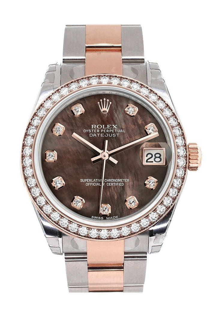 Custom Diamond Bezel Rolex Datejust 31 Black Mother of Pearl Diamond Dial 18K Rose Gold Two Tone Ladies Watch 178241