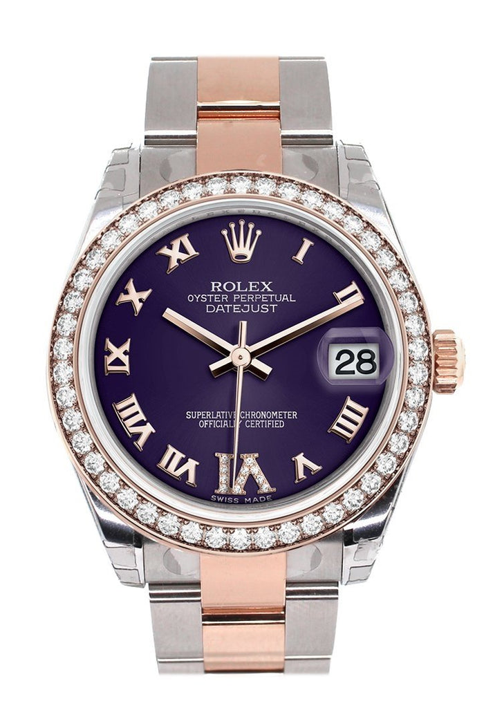 Custom Diamond Bezel Rolex Datejust 31 Purple Roman Large VI set with Diamond Dial 18K Rose Gold Two Tone Ladies Watch 178241
