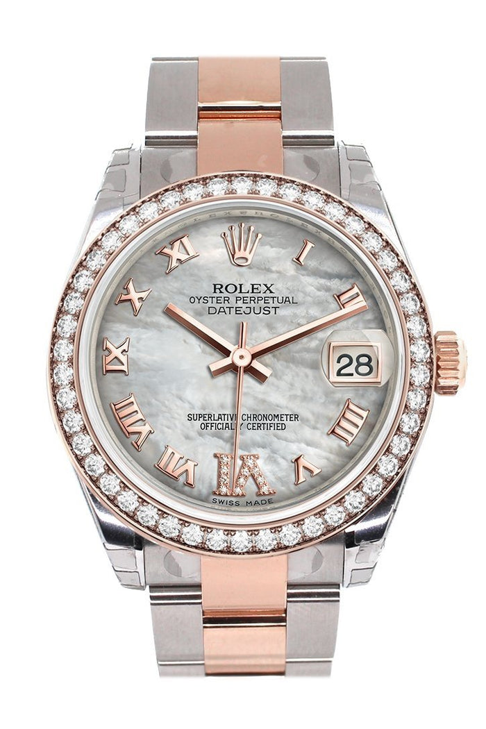 Custom Diamond Bezel Rolex Datejust 31 White Mother of Pearl Roman Large VI set with Diamond Dial 18K Rose Gold Two Tone Ladies Watch178241
