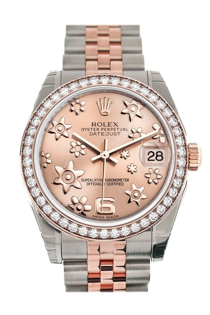 Custom Diamond Bezel Rolex Datejust 31 Pink Raised Floral Motif Dial 18K Rose Gold Two Tone Jubilee