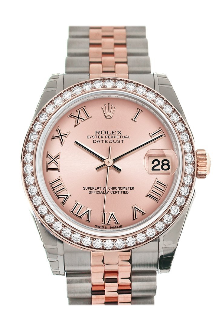 Custom Diamond Bezel Rolex Datejust 31 Pink Roman Dial 18K Rose Gold Two Tone Jubilee Ladies Watch