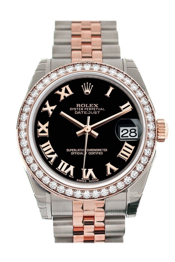 Custom Diamond Bezel Rolex Datejust 31 Black Roman Dial 18K Rose Gold Two Tone Jubilee Ladies Watch