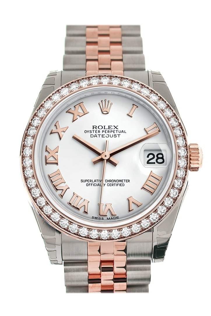 Custom Diamond Bezel Rolex Datejust 31 White Roman Dial 18K Rose Gold Two Tone Jubilee Ladies Watch