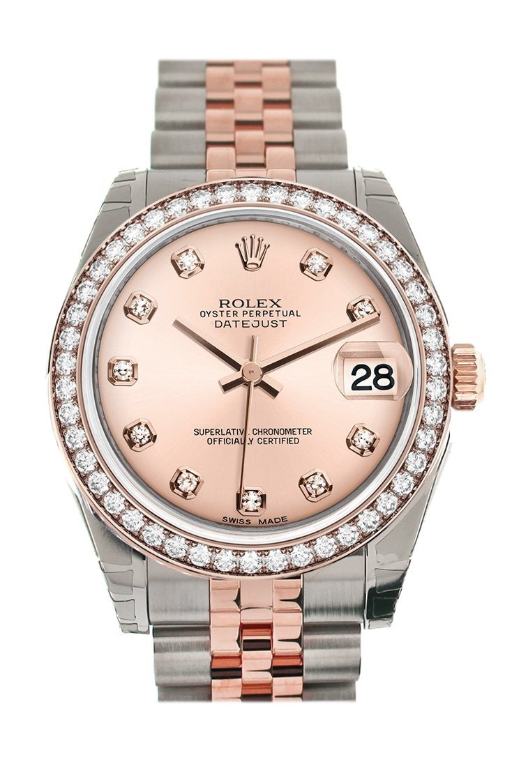 Custom Diamond Bezel Rolex Datejust 31 Pink Dial 18K Rose Gold Two Tone Jubilee Ladies Watch 178241