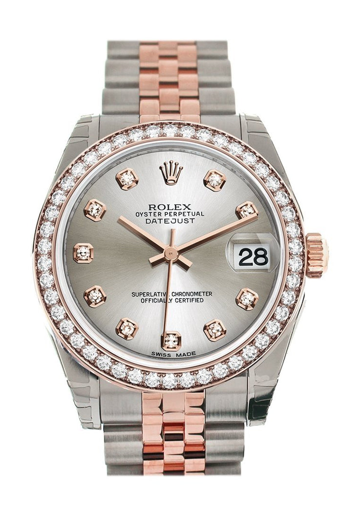 Custom Diamond Bezel Rolex Datejust 31 Silver Diamond Dial 18K Rose Gold Two Tone Jubilee Ladies Watch 178241
