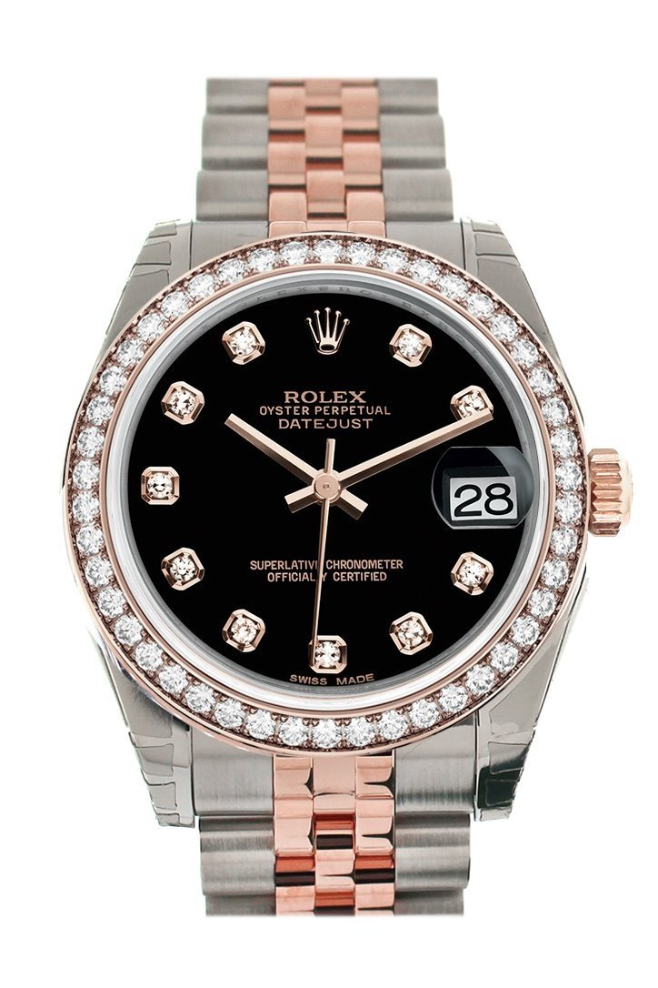 Custom Diamond Bezel Rolex Datejust 31 Black Dial 18K Rose Gold Two Tone Jubilee Ladies Watch 178241
