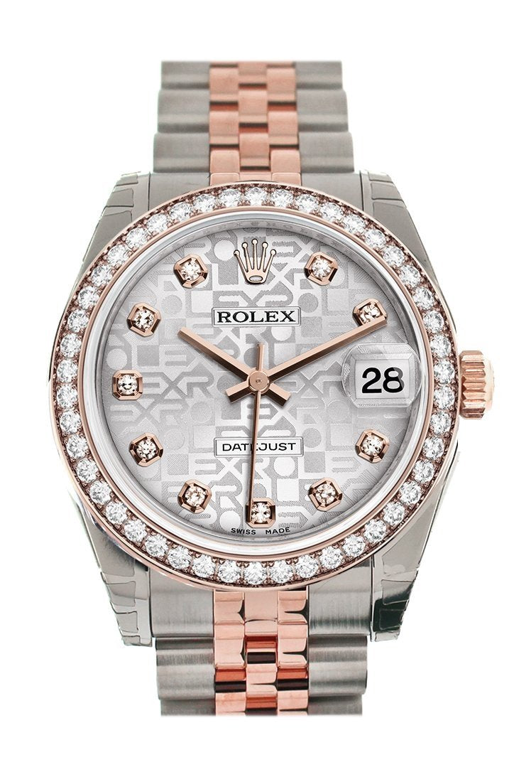 Custom Diamond Bezel Rolex Datejust 31 Silver Jubilee Dial 18K Rose Gold Two Tone Ladies Watch