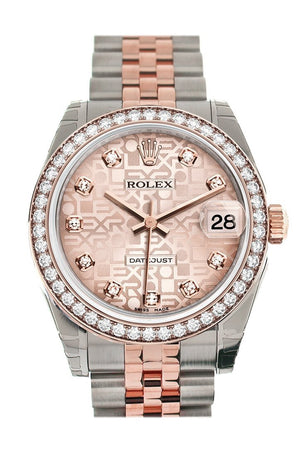 Custom Diamond Bezel Rolex Datejust 31 Pink Jubilee Dial 18K Rose Gold Two Tone Ladies Watch 178241