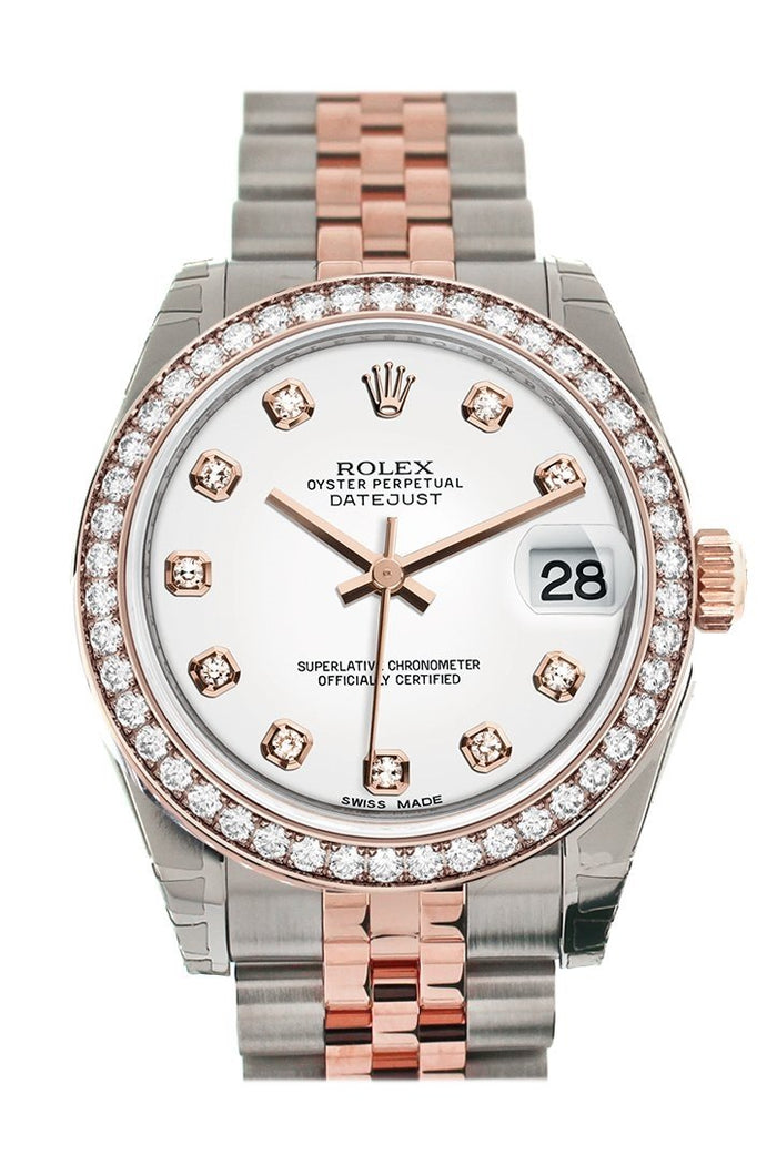 Custom Diamond Bezel Rolex Datejust 31 White Diamond Dial 18K Rose Gold Two Tone Jubilee Ladies Watch 178241