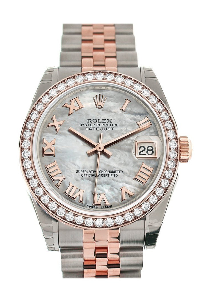 Custom Diamond Bezel Rolex Datejust 31 White Mother of Pearl Roman Dial 18K Rose Gold Two Tone Jubilee Ladies Watch 178241