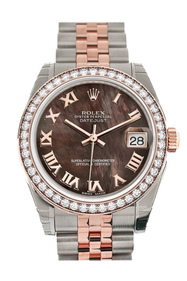 Custom Diamond Bezel Rolex Datejust 31 Black Mother Of Pearl Roman Dial 18K Rose Gold Two Tone