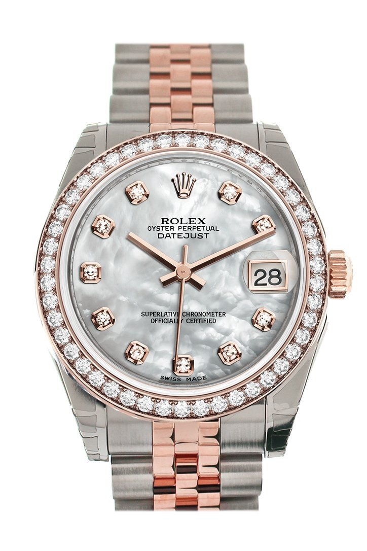 Custom Diamond Bezel Rolex Datejust 31 White Mother Of Pearl Dial 18K Rose Gold Two Tone Jubilee