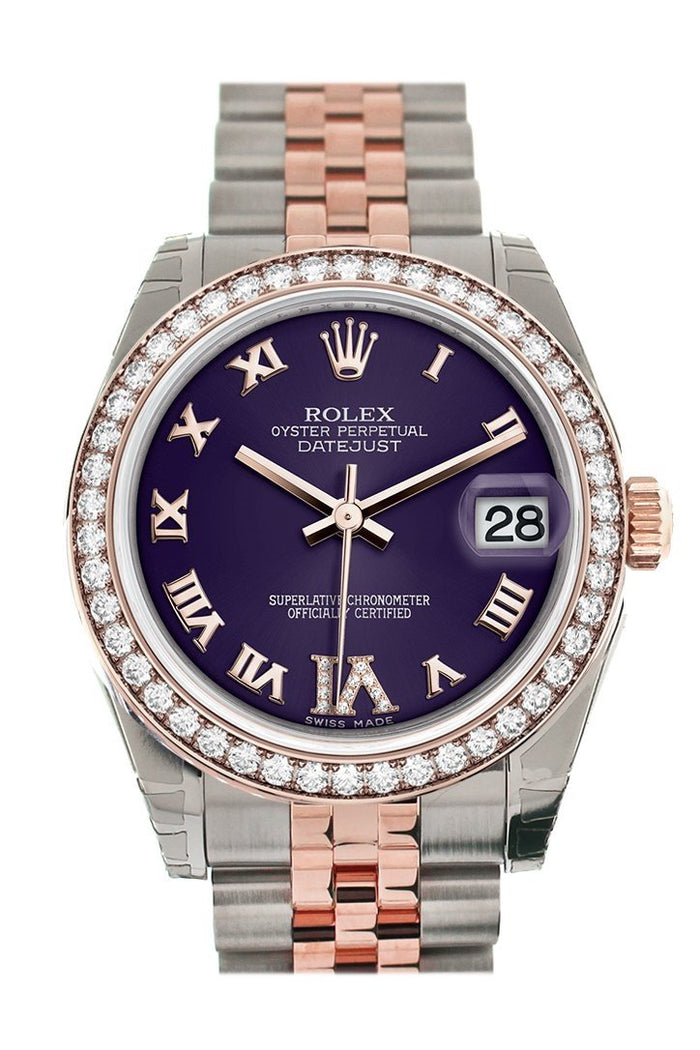 Custom Diamond Bezel Rolex Datejust 31 Purple Roman Large VI set with Diamond Dial 18K Rose Gold Two Tone Jubilee Ladies Watch 178241