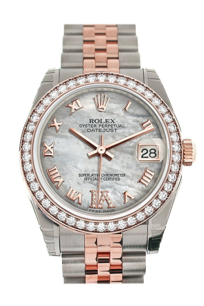 Custom Diamond Bezel Rolex Datejust 31 White Mother of Pearl Roman Large VI set with Diamond Dial 18K Rose Gold Two Tone Jubilee Ladies Watch 178241