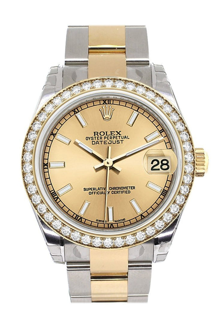 Custom Diamond Bezel Rolex Datejust 31 Champagne Dial Ladies Watch Two Tone 18K Gold 178243