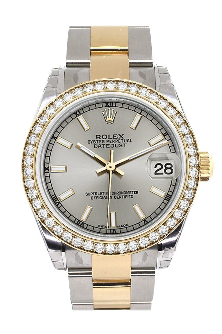 Custom Diamond Bezel Rolex Datejust 31 Silver Dial Ladies Watch Two Tone 18K Gold 178243