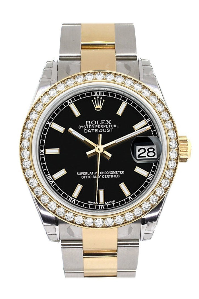 Custom Diamond Bezel Rolex Datejust 31 Black Dial Ladies Watch Two Tone 18K Gold 178243