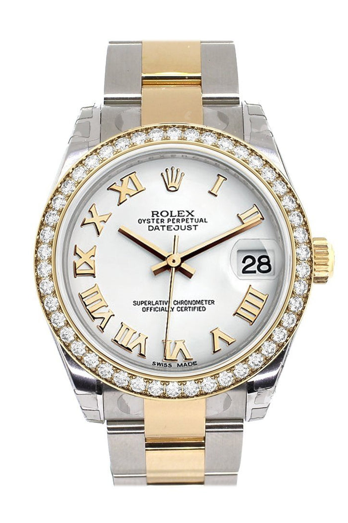 Custom Diamond Bezel Rolex Datejust 31 White Roman Dial Ladies Watch Two Tone 18K Gold 178243