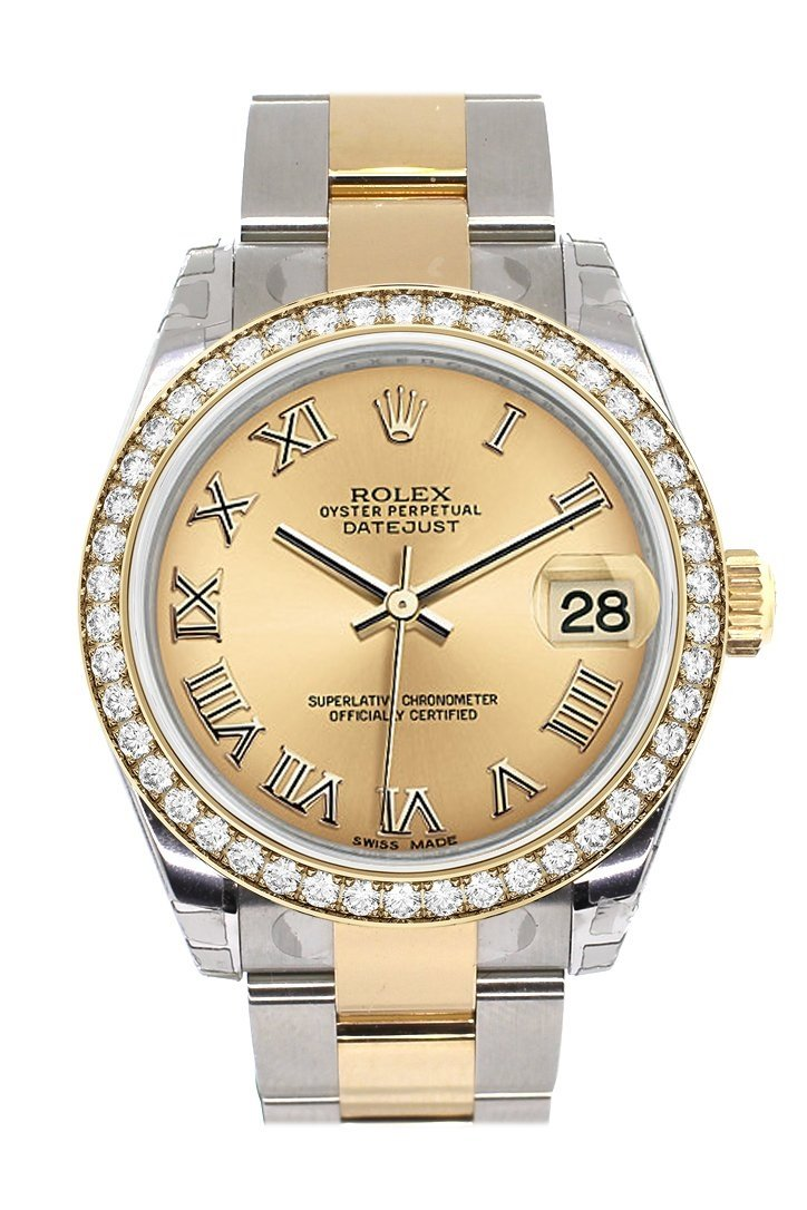 Custom Diamond Bezel Rolex Datejust 31 Champagne Roman Dial Ladies Watch Two Tone 18K Gold 178243