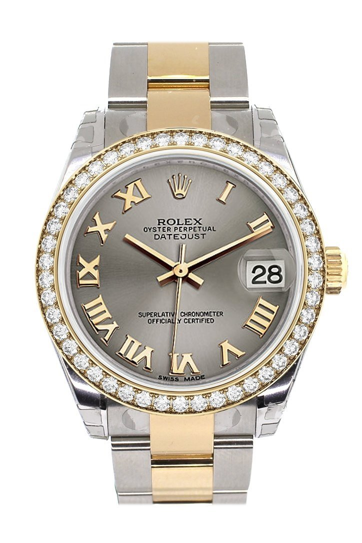 Custom Diamond Bezel Rolex Datejust 31 Steel Roman Dial Ladies Watch Two Tone 18K Gold 178243