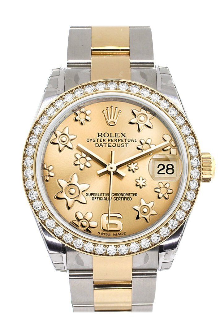 Custom Diamond Bezel Rolex Datejust 31 Champagne Floral Motif Roman Dial Ladies Watch Two Tone 18K