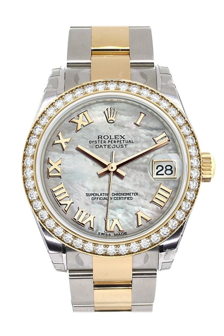 Custom Diamond Bezel Rolex Datejust 31 Mother Of Pearl Roman Dial Ladies Watch Two Tone 18K Gold