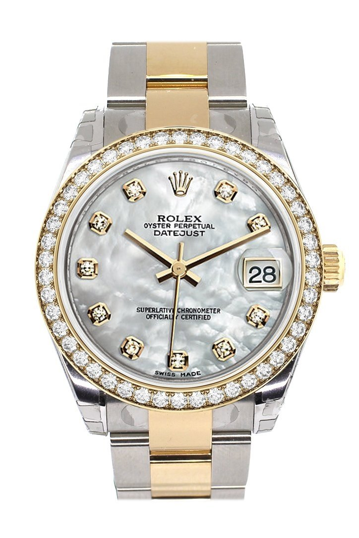 Custom Diamond Bezel Rolex Datejust 31 Mother Of Pearl Diamonds Dial Ladies Watch Two Tone 18K Gold