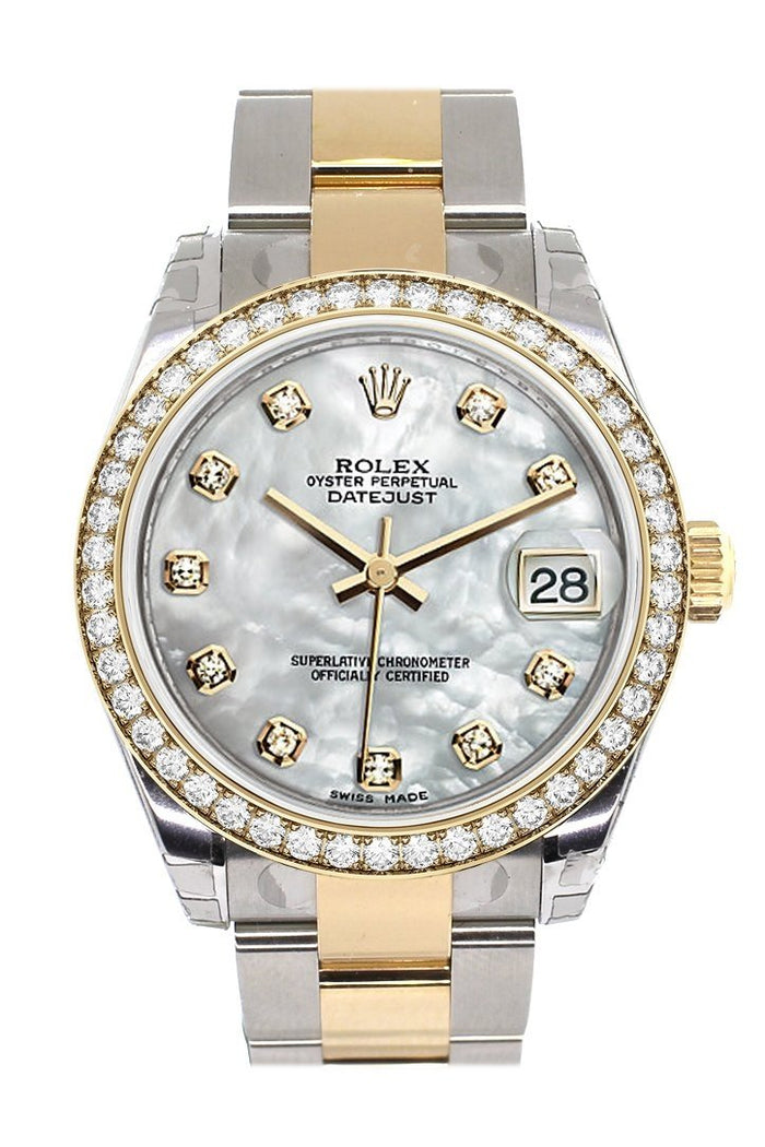 Custom Diamond Bezel Rolex Datejust 31 Mother of Pearl Diamonds Dial  Ladies Watch Two Tone 18K Gold 178243