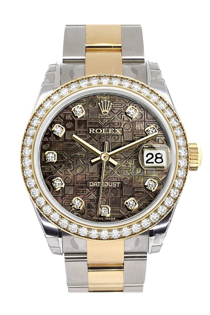 Custom Diamond Bezel Rolex Datejust 31 Black Mother Of Pearl Jubilee Diamonds Dial Ladies Watch Two