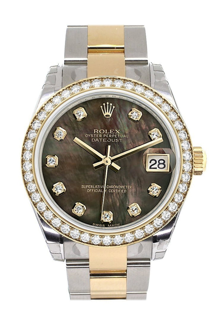 Custom Diamond Bezel Rolex Datejust 31 Black Mother of Pearl Diamonds Dial Ladies Watch Two Tone 18K Gold 178243