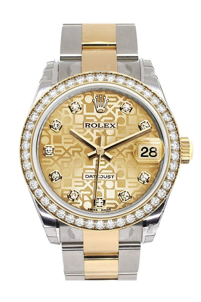 Custom Diamond Bezel Rolex Datejust 31 Champagne Jubilee Dial Ladies Watch Two Tone 18K Gold 178243