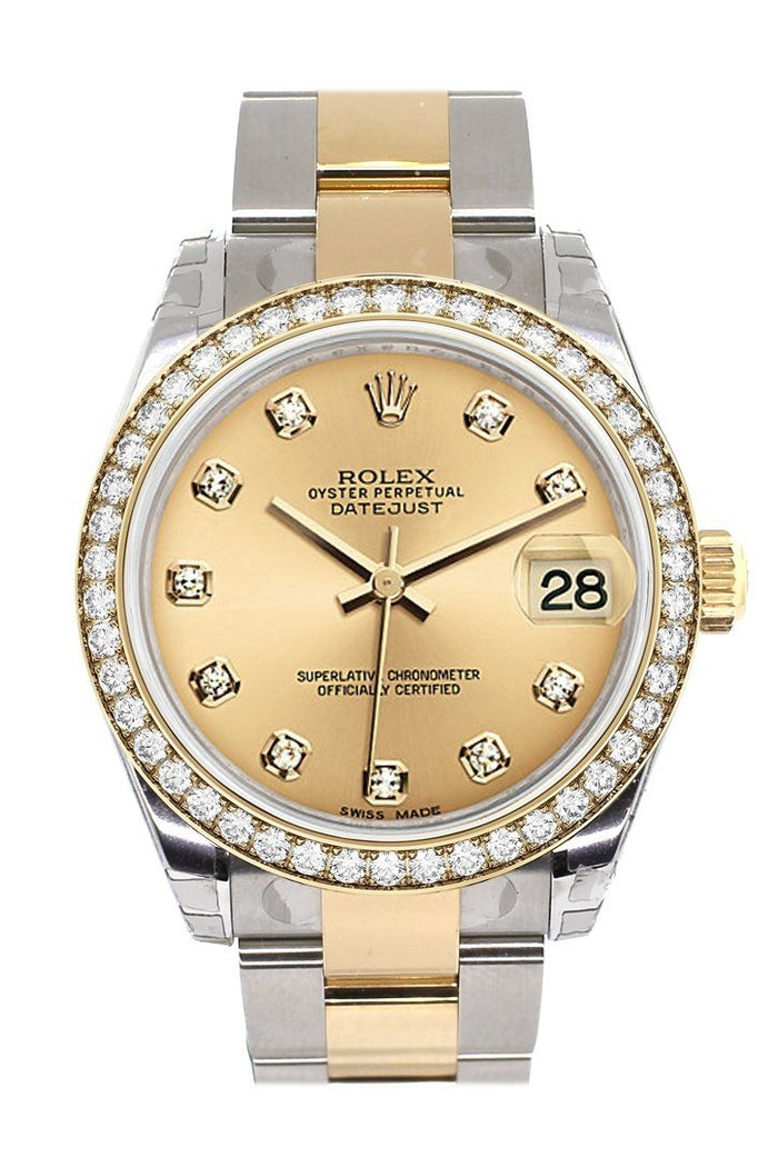Custom Diamond Bezel Rolex Datejust 31 Champagne Diamond Dial Ladies Watch Two Tone 18K Gold 178243