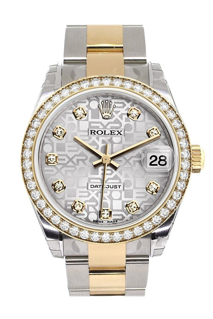 Custom Diamond Bezel Rolex Datejust 31 Silver Jubilee Dial Ladies Watch Two Tone 18K Gold 178243