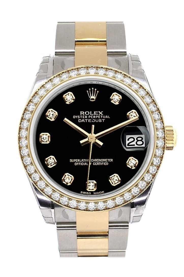 Custom Diamond Bezel Rolex Datejust 31 Black Dial Ladies Watch Two Tone 18K Gold 178243 Custom-Bezel