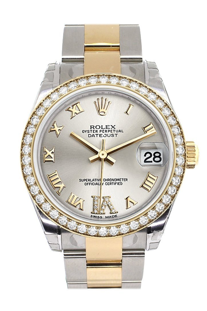 Custom Diamond Bezel Rolex Datejust 31 Silver Roman Large Vi Dial Ladies Watch Two Tone 18K Gold
