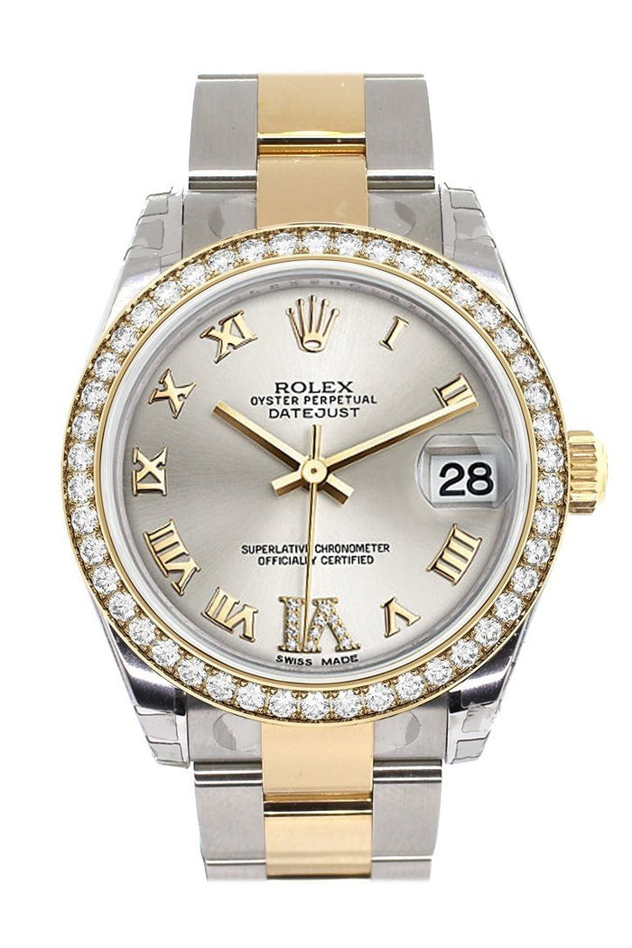 Custom Diamond Bezel Rolex Datejust 31 Silver Roman Large VI Diamond Dial Ladies Watch Two Tone 18K Gold 178243