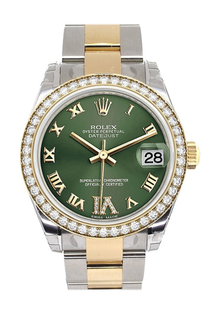 Custom Diamond Bezel Rolex Datejust 31 Olive Green Roman Large VI Diamond Dial  Ladies Watch Two Tone 18K Gold 178243