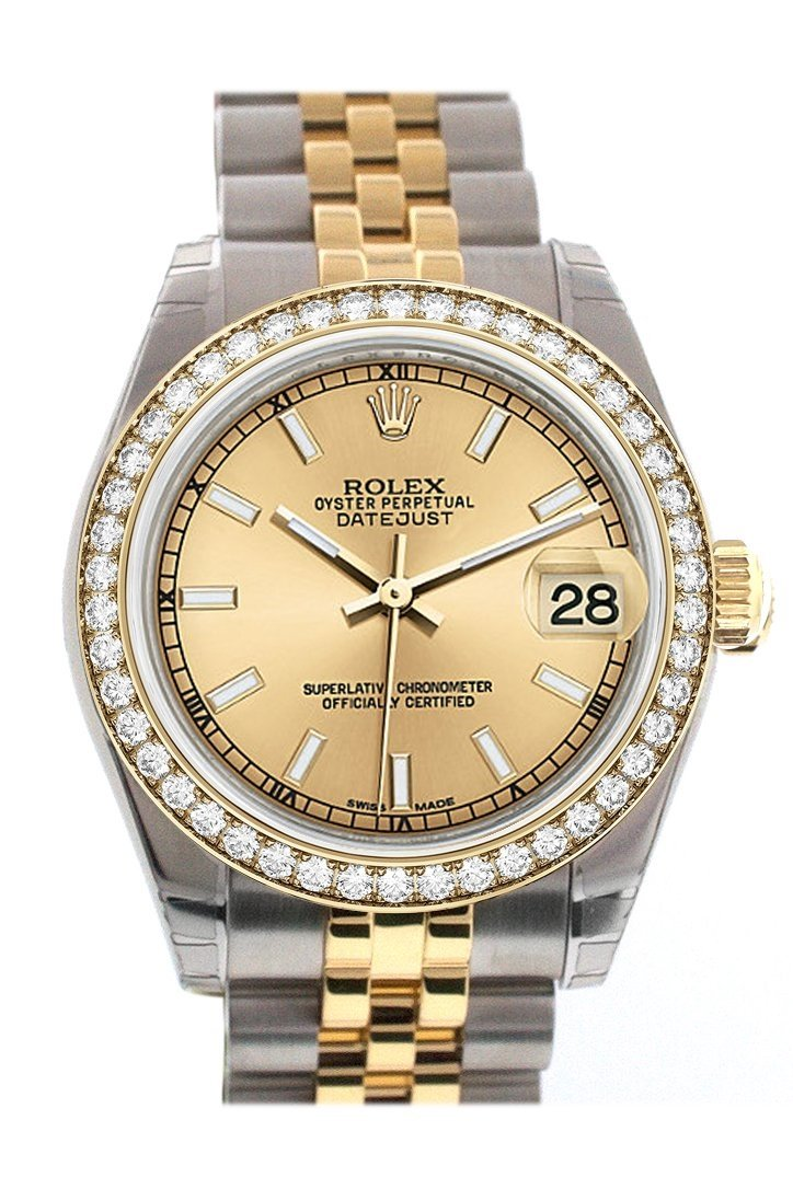 Custom Diamond Bezel Rolex Datejust 31 Champagne Dial 18K Yellow Gold And Steel Ladies Watch 178243